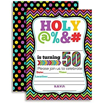 HOLY 50th Birthday Party Invitations 20 Funny 5x7 Fill In