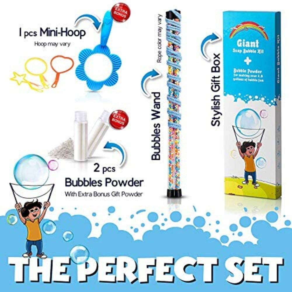 Giant Bubbles Kit: Complete Fun Bubble Making Set with Long Mixing Powder for 2.5 Gallons Flexible Free Mixing Powder 2.5 Gallons and Free Mini-Hoop Corded Dual Wand