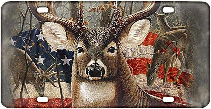 FKELYI 3D Deer/&American Flag Design Car Vanity Tag No Fading Rust-Proof License Plate for Vehicle Auto Accessories Universal Fit All Weather License Plate