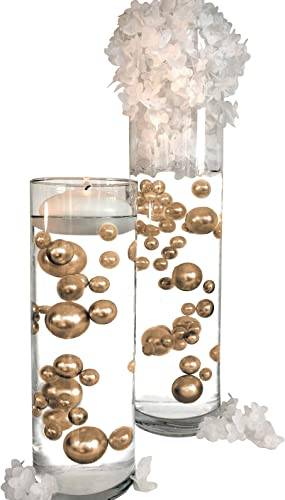 2 x 120 Gold Pearls with Matching Sparkling Gems – No Hole Jumbo Assorted Sizes Vase Decorations Table Scatter – to Float The Pearls Order The Floating Packs from The Options Below