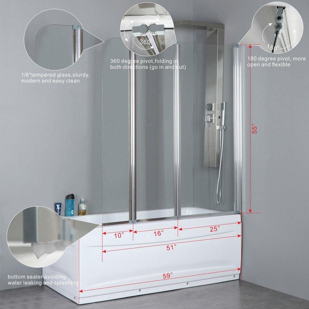 Mfyo 51 X 55 3 Folding Tub Door Satin Aluminium Shower Bath Screen