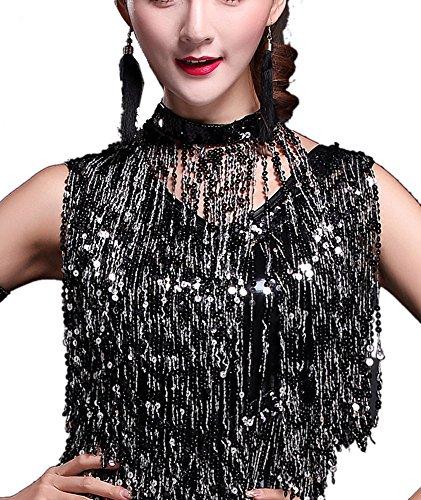 (Whitewed Fringe Flapper Costume Neck Piece Black,One Size)