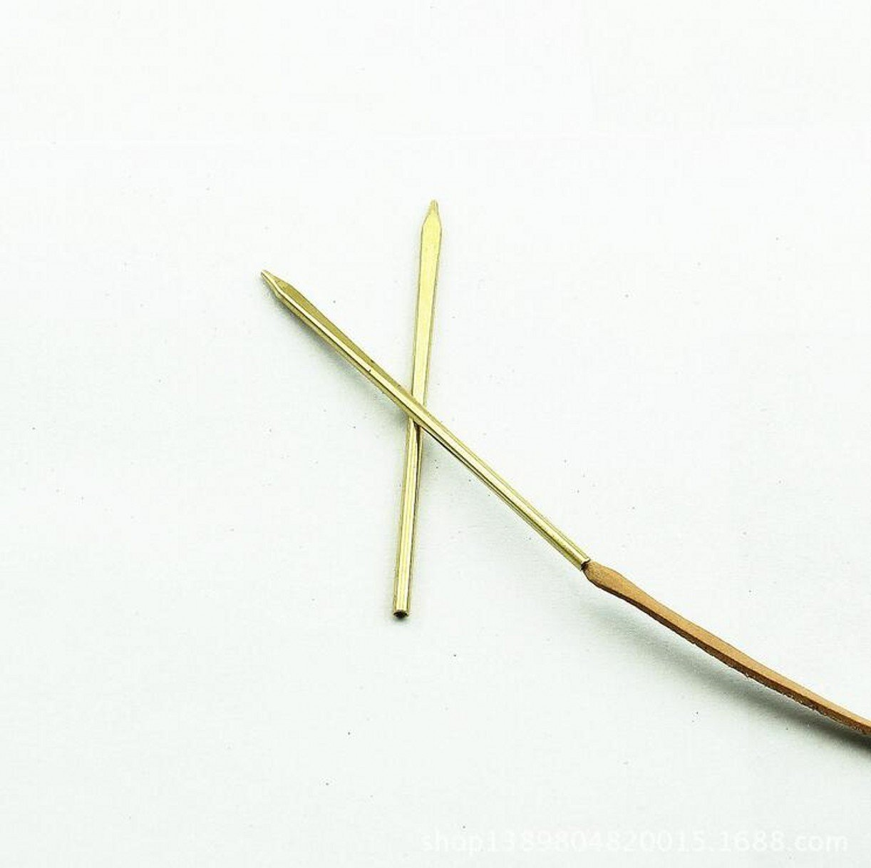 ZHONGJIUYUAN 2 Piece DIY Wallet/Leather Craft Brass Round Oblate Head Threaded Lacing Needle Tool 2MM S0683H Perma-lok Leather Lace Needle