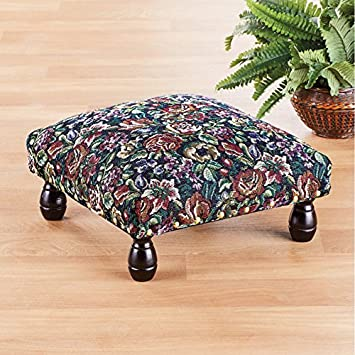 Floral Tapestry Padded Footstool with Wooden Legs, 13 inches Square x 6.66 Inches High