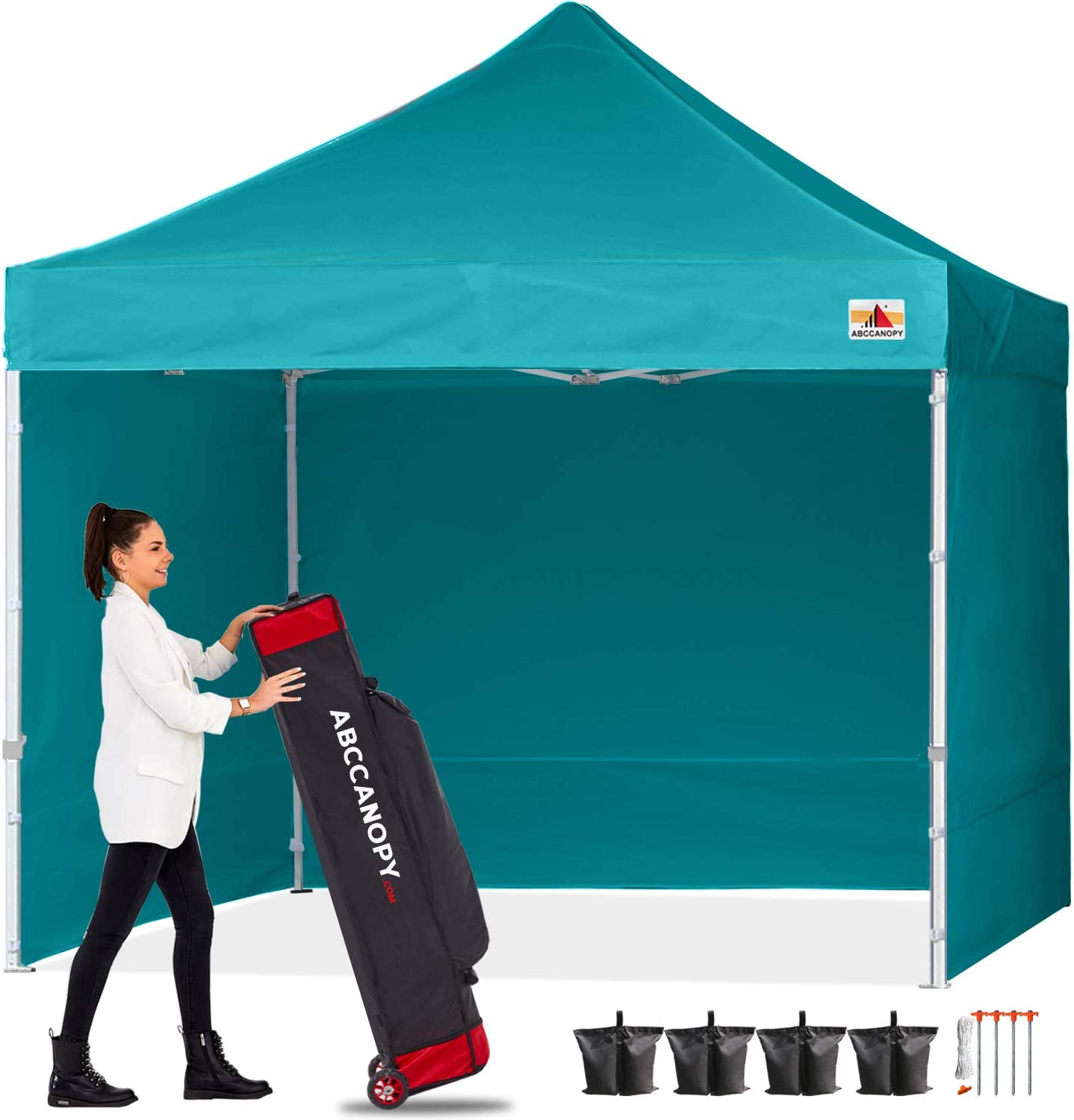 ABCCANOPY Canopy Pop Up Commercial Canopy Tent with Side Walls Instant Shade, Bonus Upgrade Roller Bag, 4 Weight Bags, Stakes and Ropes, Turquoise