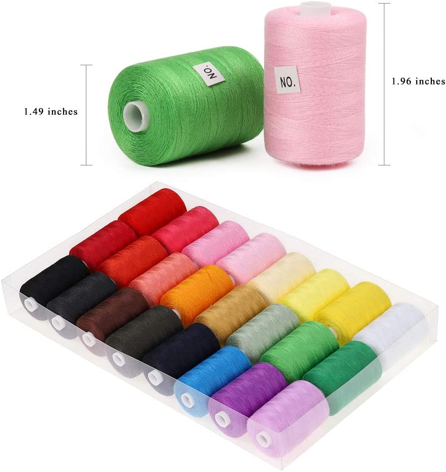 24 Colors 1000 Yards Each NEX Sewing Thread Assortment Cotton Spools Thread for Sewing Machine