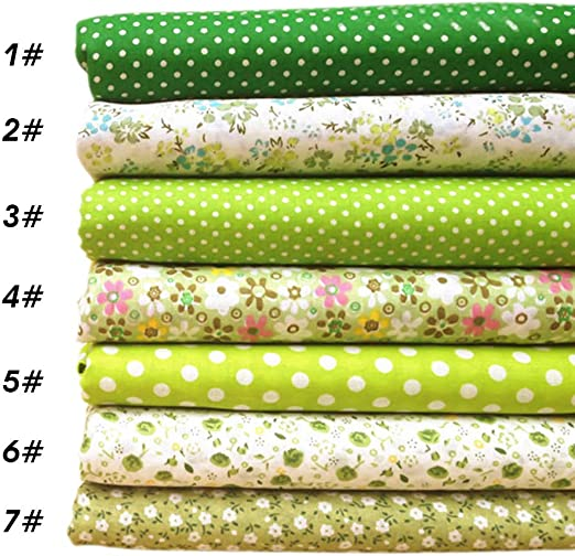 Pack de telas de algodón para patchwork de Souarts, telas para manualidades, tonalidad verde, 25 x 25 cm, 7 telas: Amazon.es: Hogar