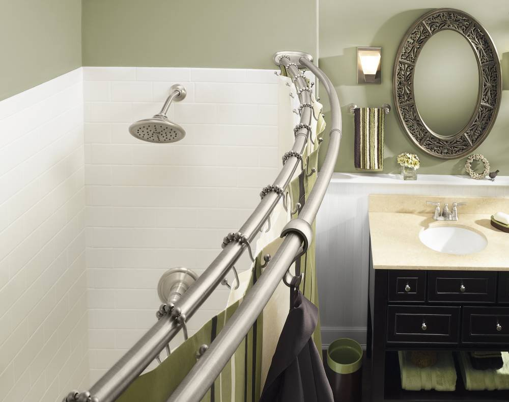Moen DN2141BN 60-Inch Adjustable Stainless Steel Double Curved Shower Rod Brushed Nickel