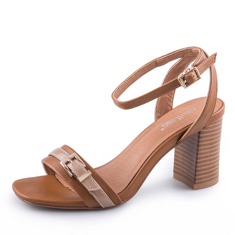 Summer Vintage Vintage Summer Sandalen Ladies Square Head Schuhe Ein Wort Schnalle Mit Groben Ferse Schuhe High Heel Sandalen 5e581a
