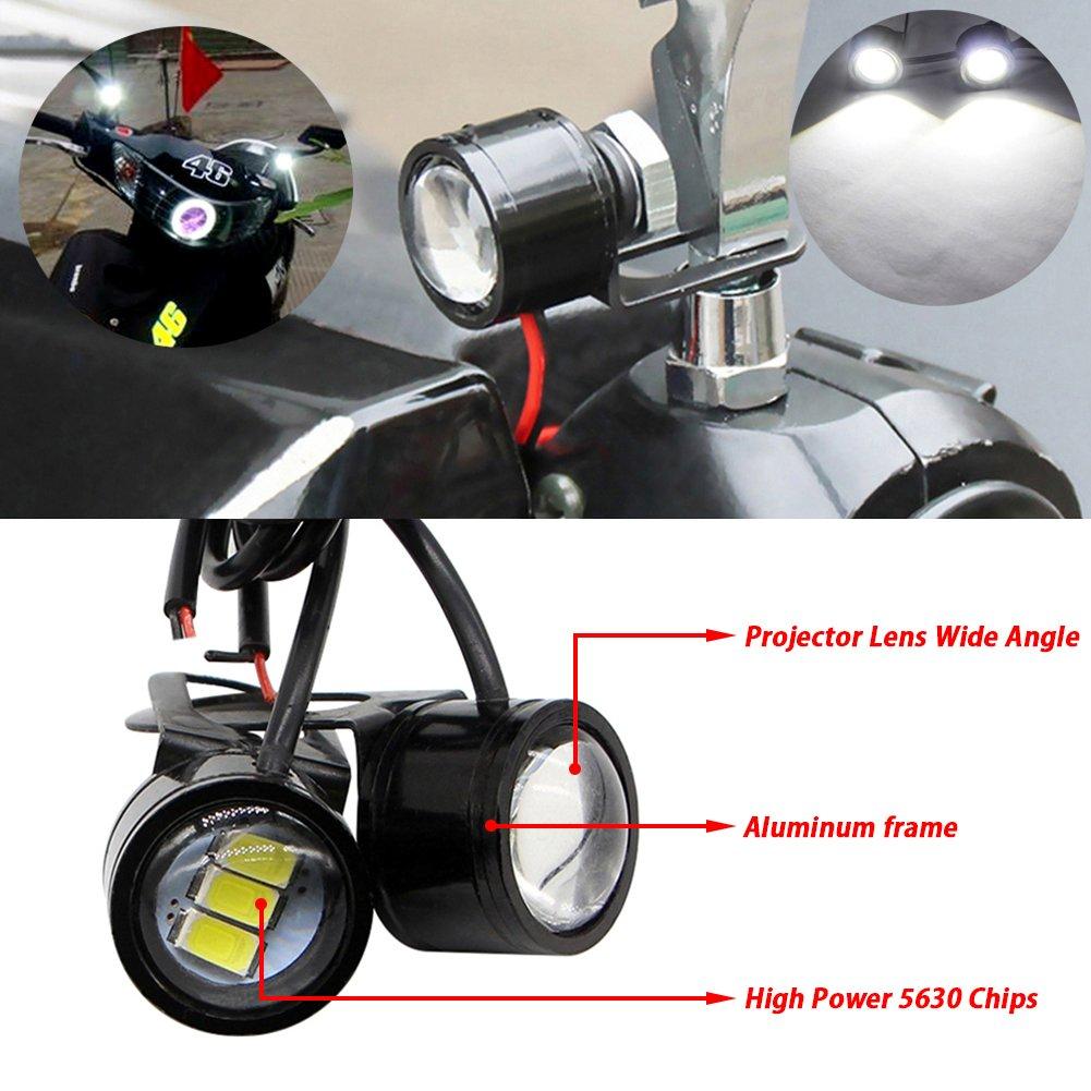 TABEN 2/x moto barca auto styling 5630/3SMD LED DRL Eagle Eye 22/mm targa a LED Daytime Runing Reverse backup parking Signal bianco Lampadina 12/V