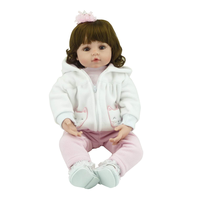 FairytaleMM Bambola in Silicone Morbido da 58 cm Bambola in Silicone Non tossica Giocattoli realistici Realistica Toddler Realistico Bambola Neonato Giocattoli Bambolina Reborn Baby, Colorata
