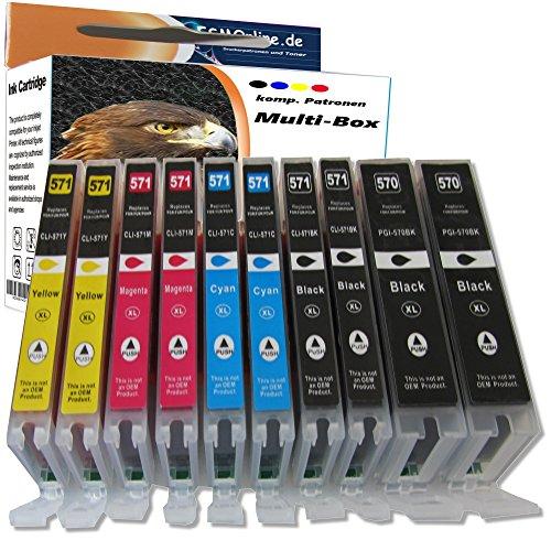60OFF Multipack ESMOnline Lot De 10 Cartouches Dencre XL Pour Imprimante Canon 570