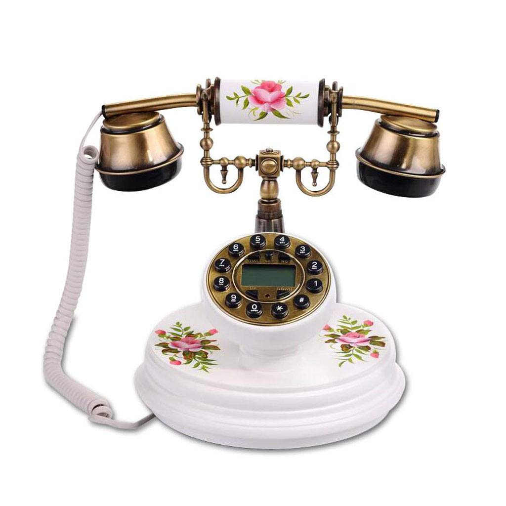 Caller ID Retro Phone Flower Map Solid Wood Metal Button Dial Garden Fashion Creative Seat European Home Office (Color : Brown)