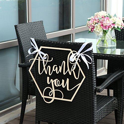 BESTOYARD Wedding Chair Banner Thank You Wood Sign Wedding Photo Booth Prop Wedding Party Decoration by BESTOYARD (Image #7)
