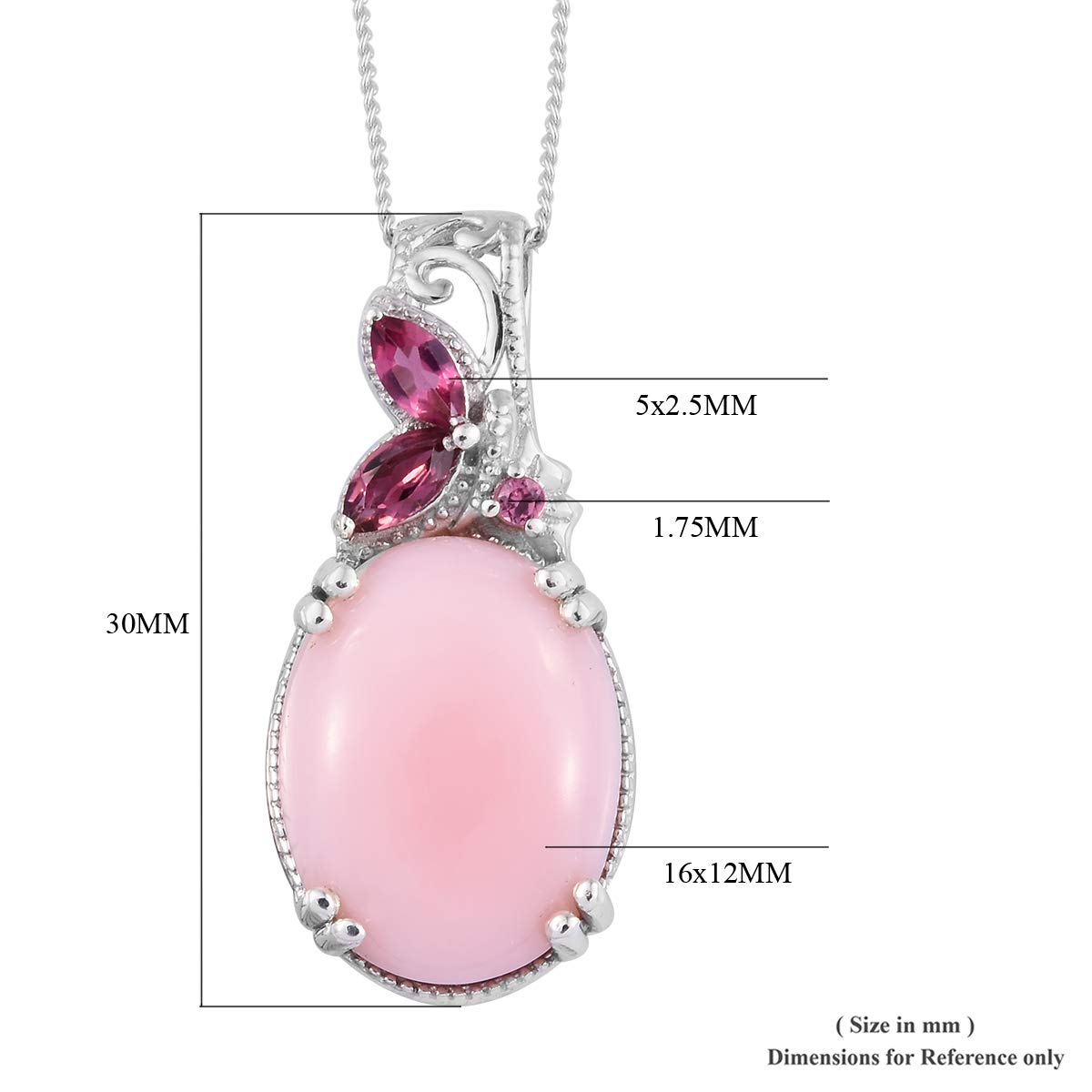 Peruvian Pink Opal Morro Redondo Pink Tourmaline Pendant Necklace 20 in Platinum Over 925 Sterling Silver