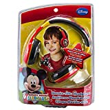 Disney Mickey Mouse Mouska-riffic Junior Kid Friendly Volume Reduced Youth Stereo Headphones