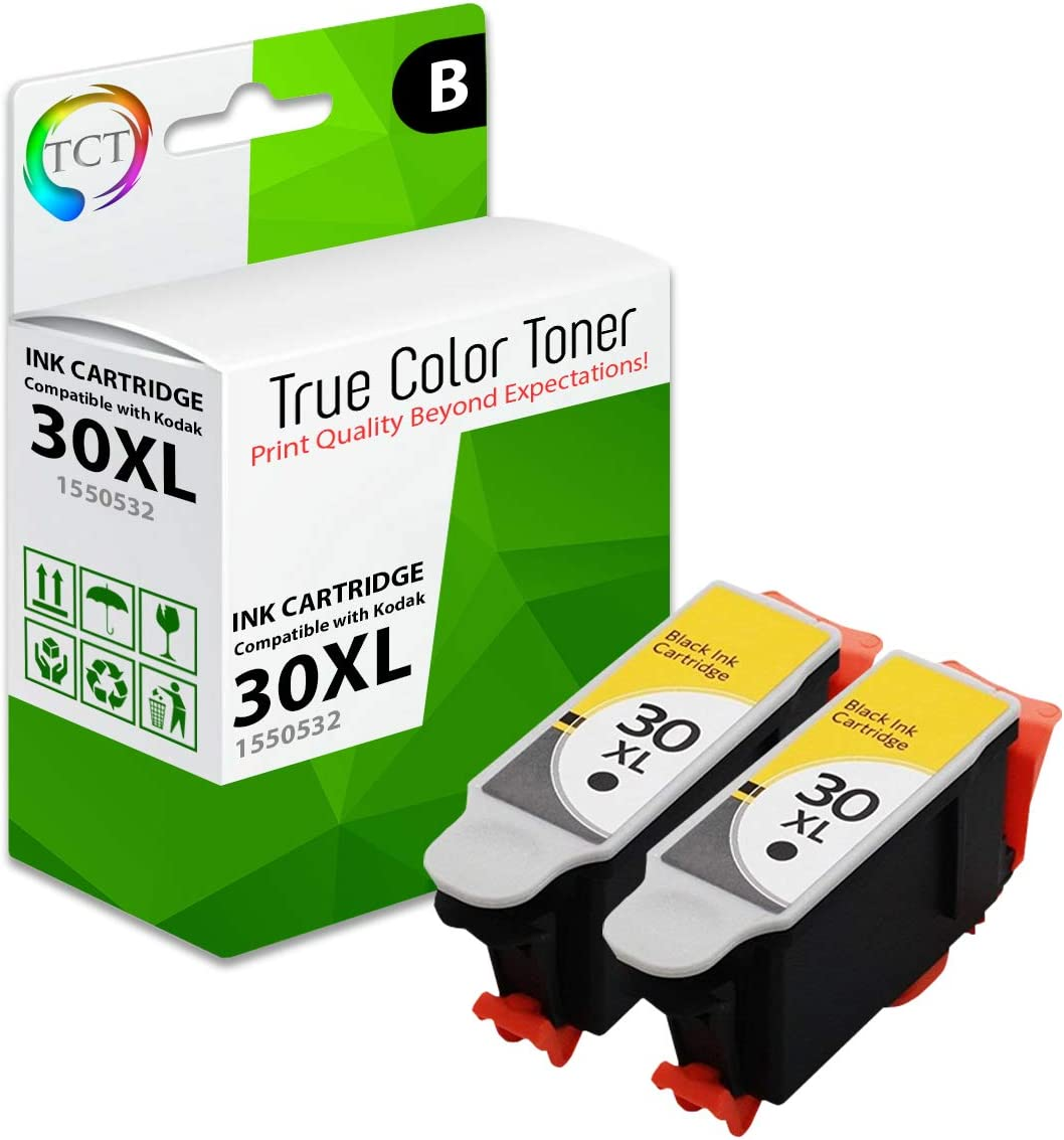 TCT Compatible Ink Cartridge Replacement for Kodak 30XL 30 XL 1550532 Black High Yield Works with Kodak ESP C110 C310 C315, Office 2150 Printers (670 Pages) - 2 Pack