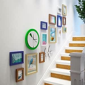 WUXK La Escalera Decoración Mural Foto Versión Vertical de Creative Reloj de Pared la Pared Está Decorada en un Moderno y Sencillo Fresca Pequeña Combinación de Marco de Fotos, de Pared: Amazon.es: