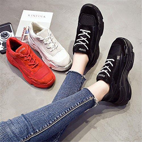 Regenstar Womens Casual Clunky Sneaker Outdoor Sport Lace Up Platform Net Schoenen Beige