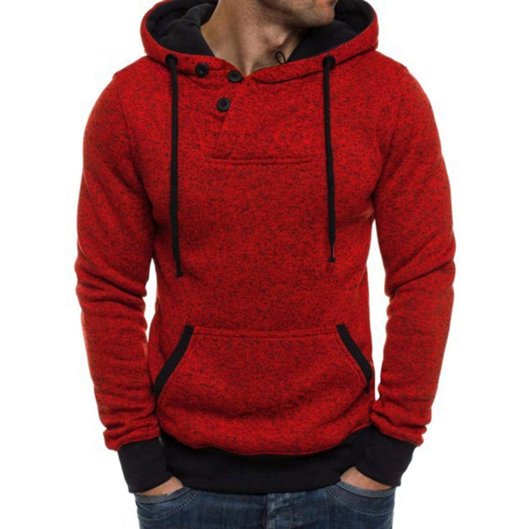 kaifongfu Sweater Top,Men's Long Sleeve Hooded Sweatshirt Tops Blouse(Red,M)