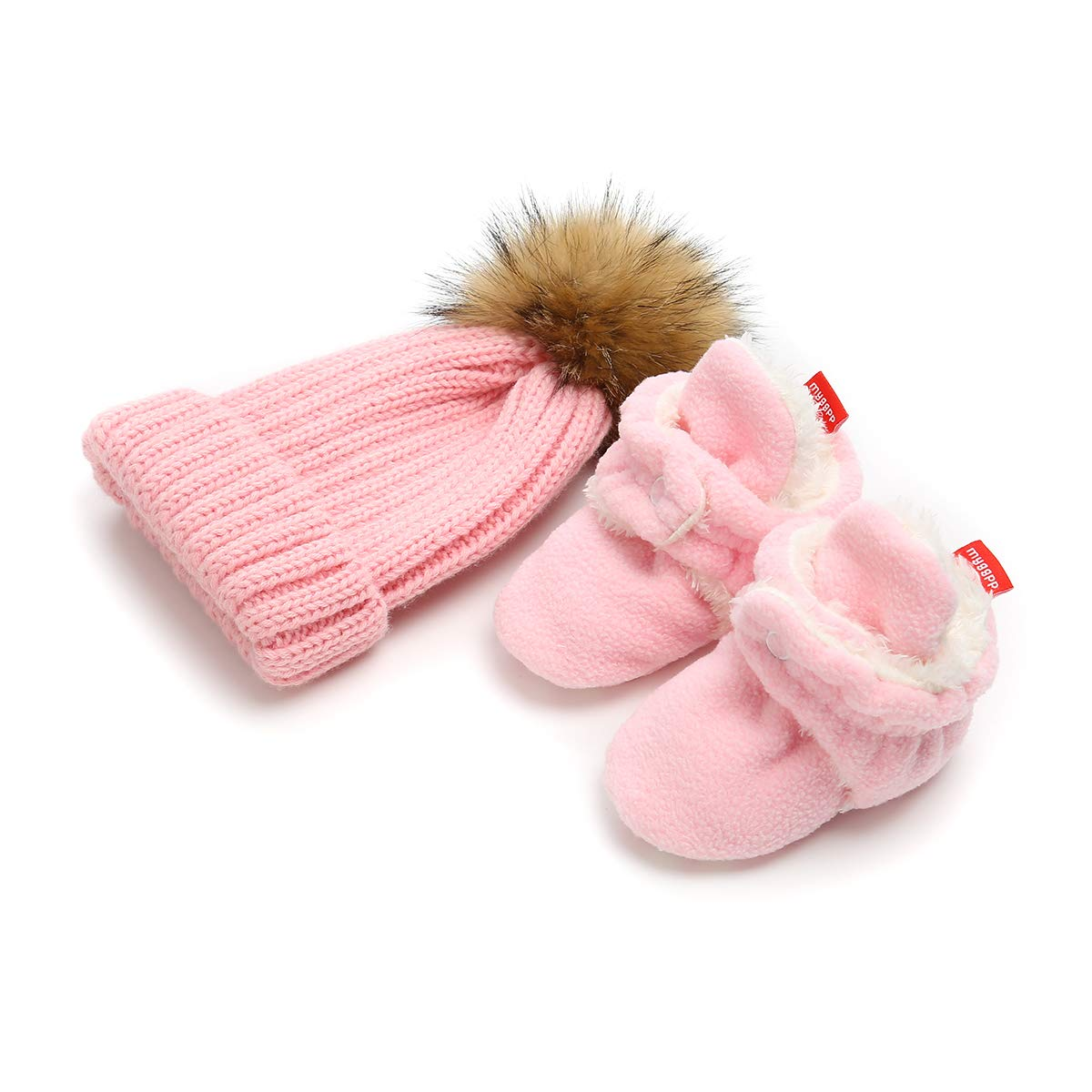 Isbasic Unisex Baby Cozy Fleece Lined Booties Non-Slip Infant Winter Warm Socks Shoes + Knit Pom Pom Hat (0-6 Months Pink)