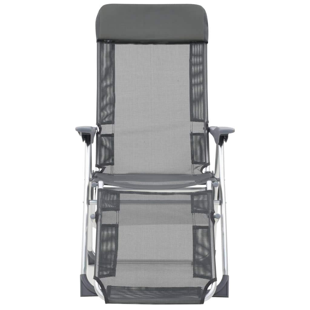 Festnight Sillas Plegables de Camping Playa Aluminio con Reposapi/és 2 uds Gris