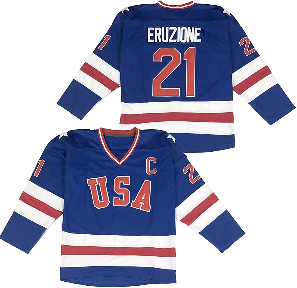 Men's 1980 Olympic Game Team USA 17 Jack O'Callahan 21 Mike Eruzione 30 Jim Craig Miracle On Ice Hockey Jersey Stitched