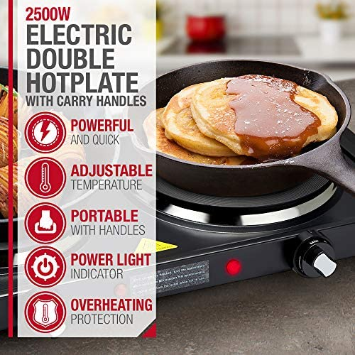 NETTA Electric Double Hot Plate for Table Top Cooking 2500W Stainless Steel with Handles - 1000W & 1500W Hot Plates with Variable Temperature Change