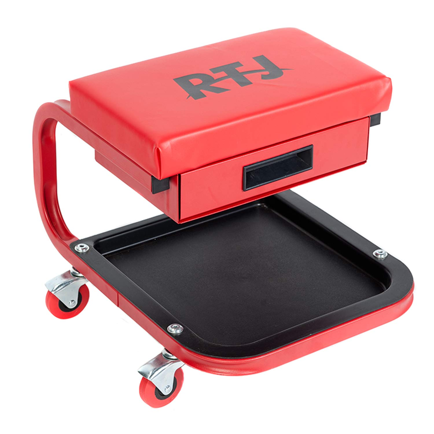 RTJ 250 lbs Capacity Mechanic Roller Seat with Drawer C-Frame Rolling Stool, Red by RTJ