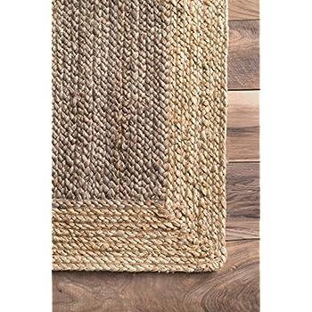 nuLOOM Natural Fibers Border Jute Grey Area Rugs, 8, Grey