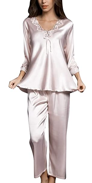 FEOYA Women Soft Sleeping Wear Lace Sleeve Vintage Ladies Nightwear Set  Size XL - Light Pink  Amazon.co.uk  Clothing 7ddbb25bf