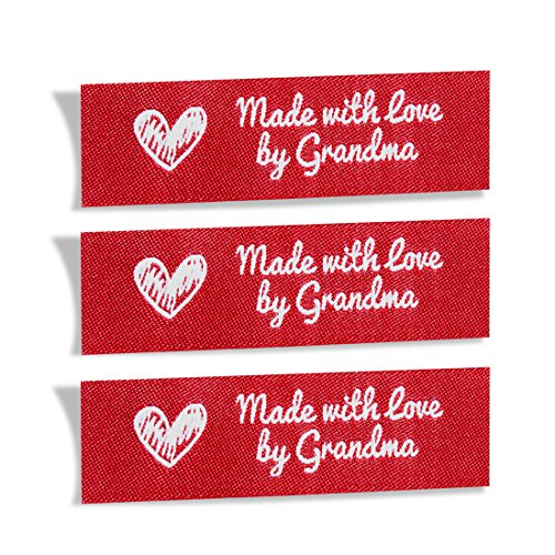 Sewing Ribbon Tags - Wunderlabel Made with Love by Grandma Crafting Fashion Granny Grandmother Woven Ribbon Tag Clothing Sewing Clothes Garment Fabric Material Embroidered Label Labels Tags, White on Red, 25 Labels