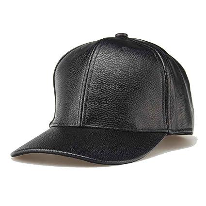 128266b57216b Amazon.com  Korowa Hot Unisex Snapback Men Women Pure Color Outdoor Hats  Leather Adjustable Baseball Caps black  Health   Personal Care