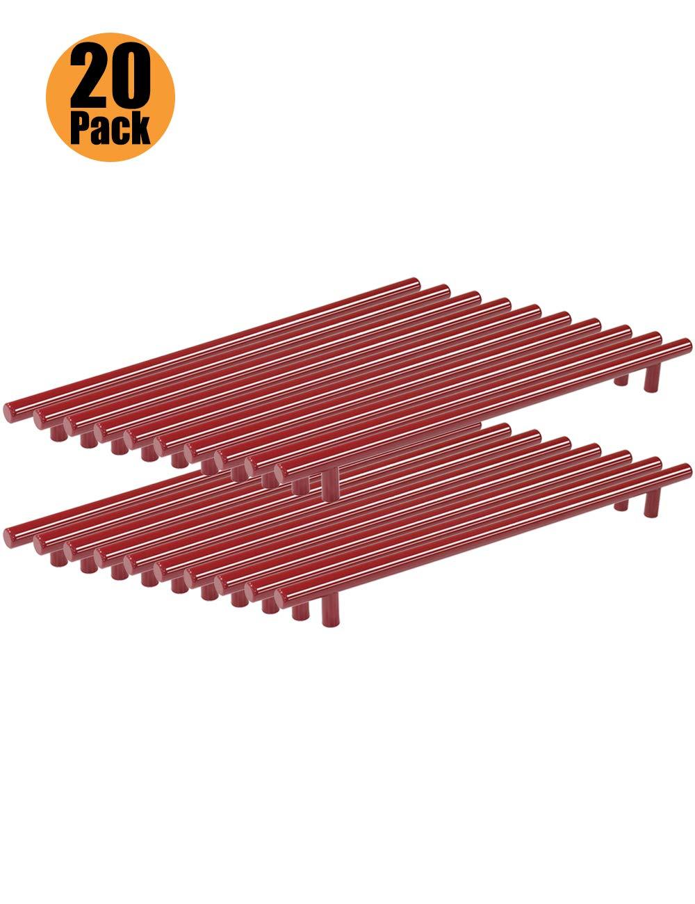 serie T agujero /único rojo color rojo Tiradores de acero inoxidable para puertas de armarios de cocina con tornillos de 6 x 25 mm PinLin