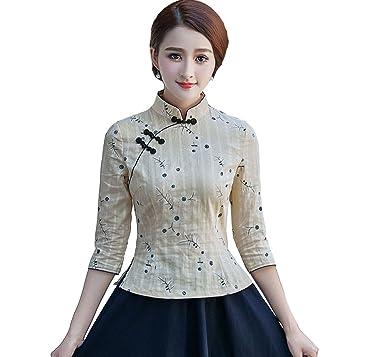 Acvip Womens Flower Pattern 34 Sleeve Retro Chinese Cheongsam Tops