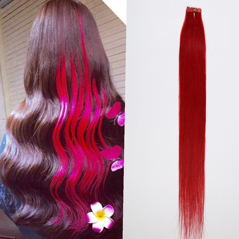 DSOAR 10 Pieces Pink Tape In PU Hair Extension 60cm/24 Inch Skin Weft Human Hair Extension, Can be Restyled DSOAR CO. LTD