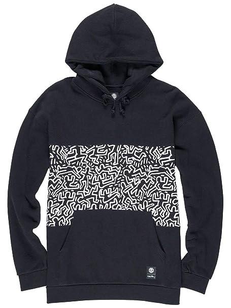 Element Sudadera con Capucha Keith Haring Collaboration Panel Pop Flint Negro: Amazon.es: Ropa y accesorios