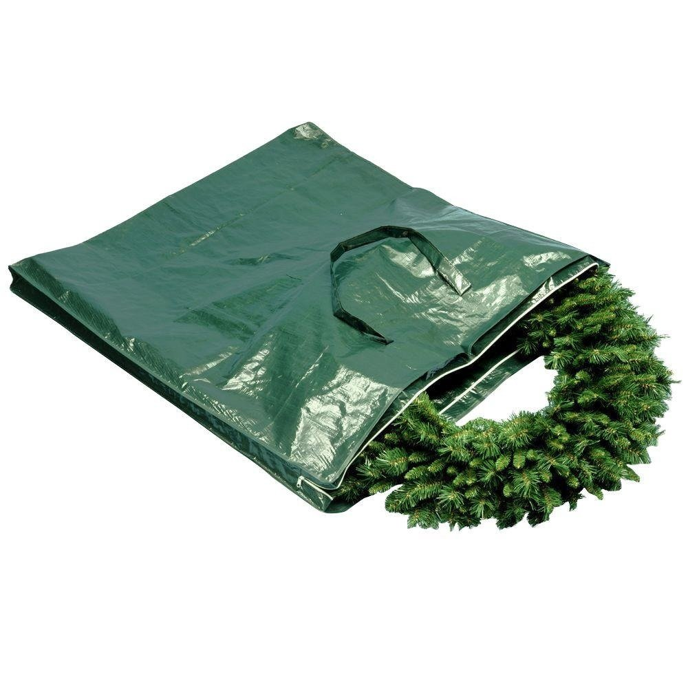 Heavy Duty Wreath and Garland Storage Bag with Handles and Zipper-Fits Up to 48 Inch Wreath
