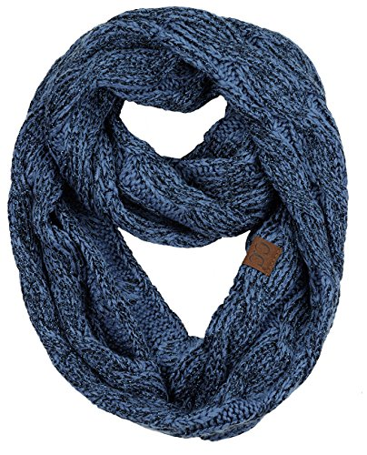 NYFASHION101 Soft Winter Warm Chunky Knit Cowl Infinity Loop Scarf, Dark Denim Metallic