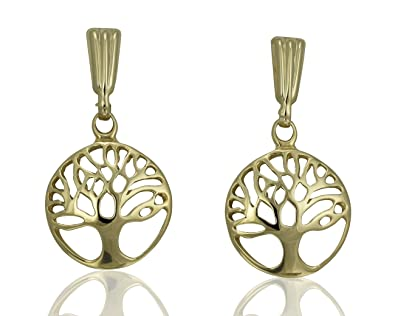 06a9b9e90 Solid 9ct Yellow Gold Round Tree of Life Dangle Drop Dangly Stud Earrings  Jewellery Gift Set Pair: Tree-of-life-Earrings: Amazon.co.uk: Jewellery