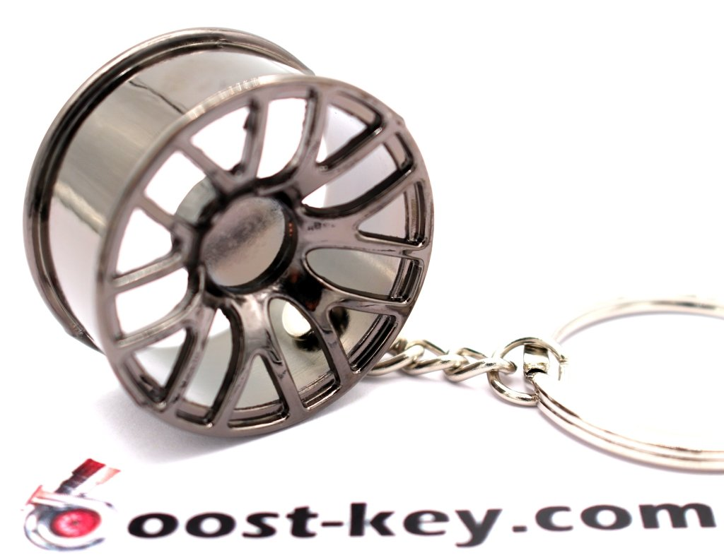 BBS Silber boost-key.com Luxus Schl/üsselanh/änger aus Metall Felge Auto BBS Vossen Chrom Anh/änger Schl/üsselring Lederband Leder von VmG-Store