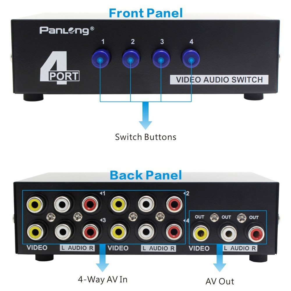 Panlong 4 Way Av Switch Rca Switcher In 1 Out Composite Video L R 2 Audio Selector Box For Dvd Stb Game Consoles Pl 431av Boxes