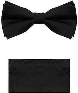 Vittorino Men's Satin Tuxedo Bow Tie Set with Matching Handkerchief Pocket Sqaure in Elegant Giftbox
