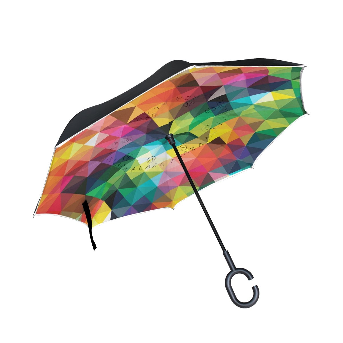 TIZORAX Triangles inversés double couche droites parapluies sur l'envers réversible Parapluie avec poignée en forme de C pour la pluie Soleil de voiture Utilisation
