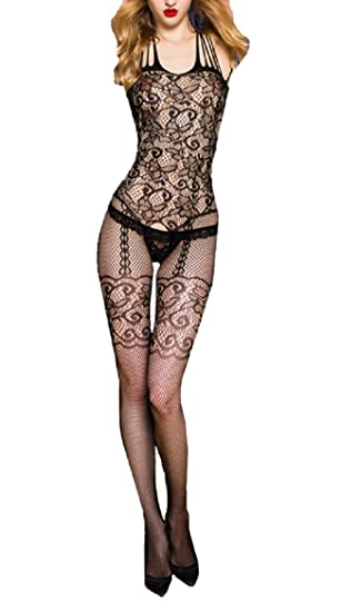 d31e638b5d4 Amazon.com  Long-Perfect Fishnet Body Stockings Sling Floral Lace ...