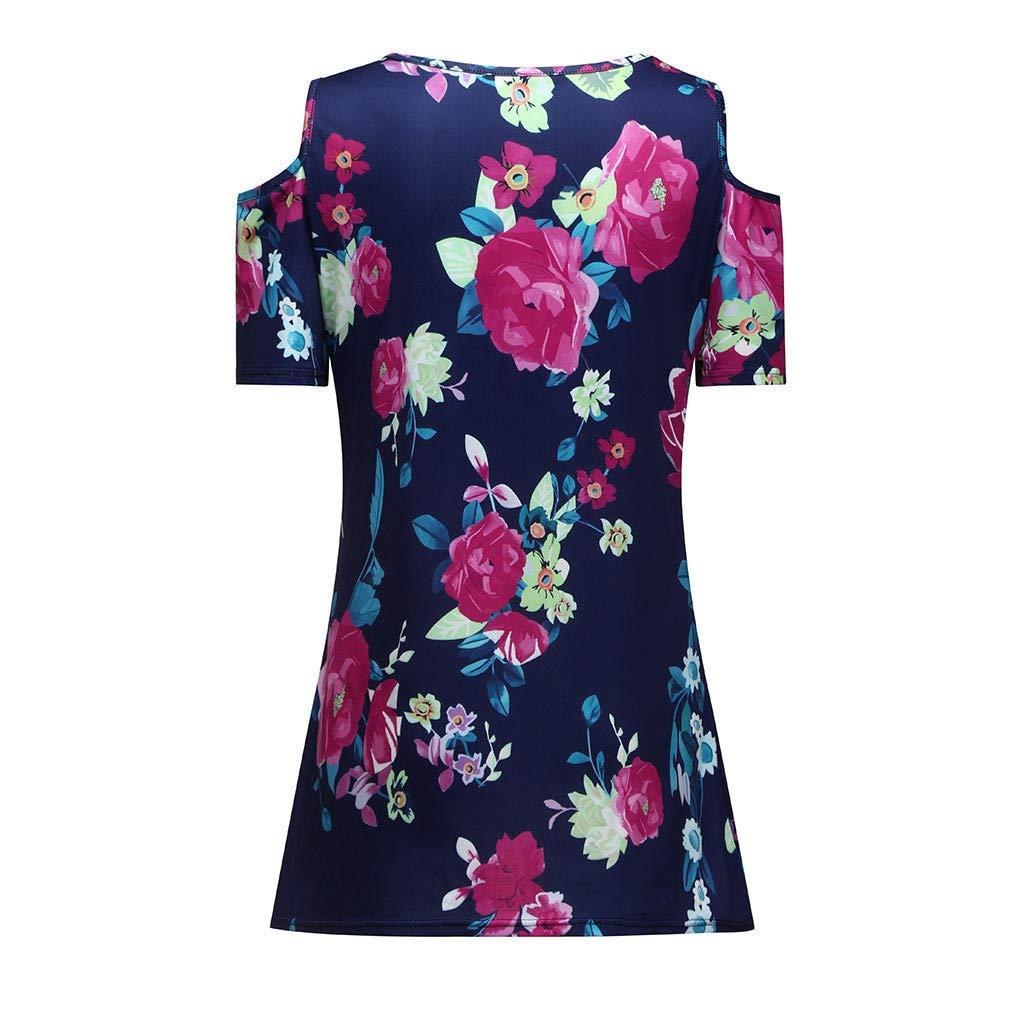 TOPKEAL Blusa Suelta de Manga Corta para Mujer Camiseta con Hombros con Estampado Floral de Moda 2019: Amazon.es: Ropa y accesorios