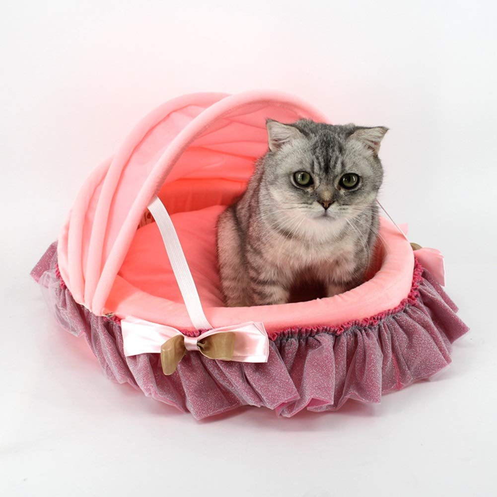 3 PLDDY pet bed,Cat bed,Small Warm high-density sponge Washable Princess style cradle Cat litter Kennel Pink bluee Non-slip Moisture proof Cloth (color    3)