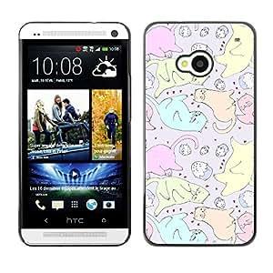 TopCaseStore / la caja del caucho duro de la cubierta de protección de la piel - Cats Cupcake Art Colorful Drawing - HTC One M7