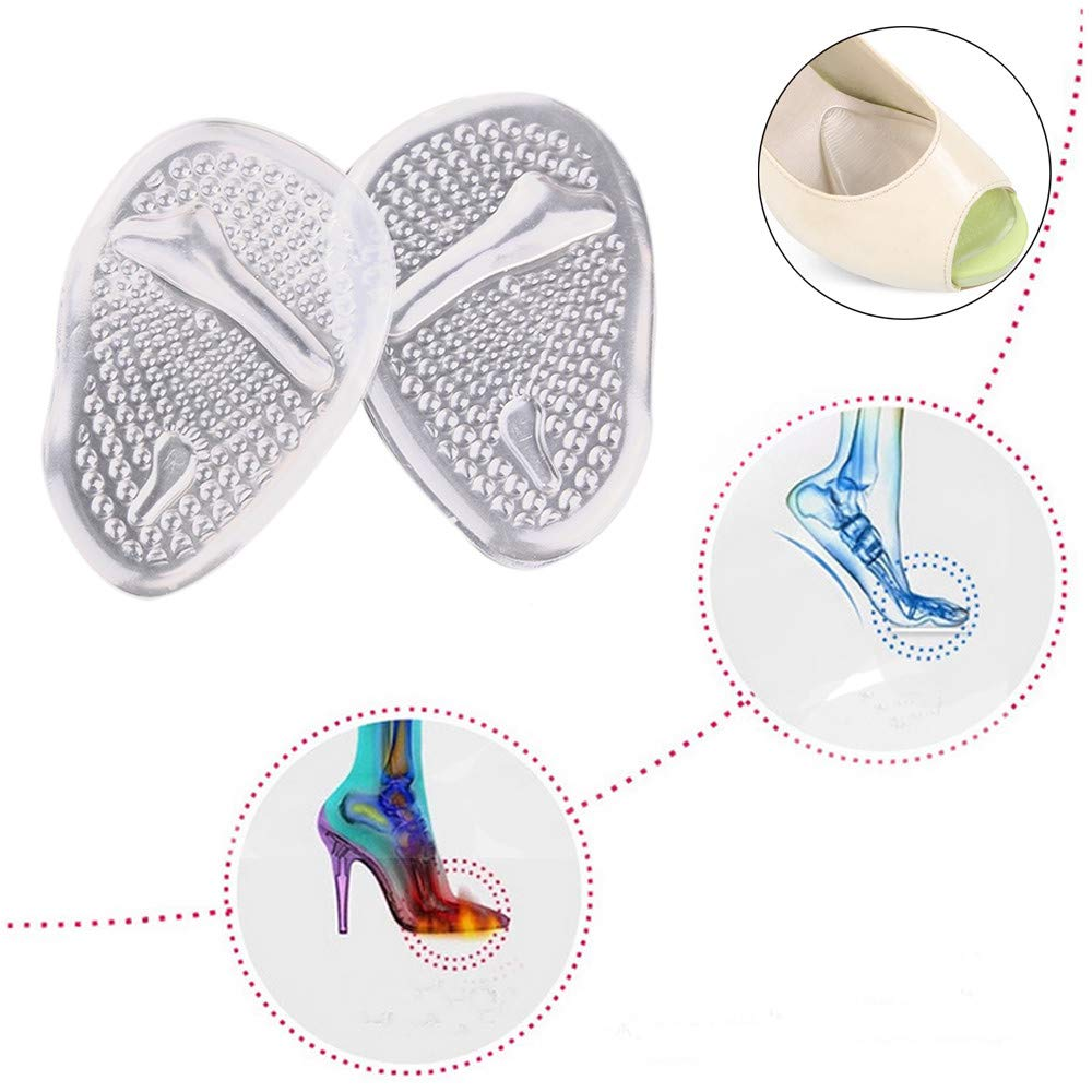 Gessppo 1 Pair Metatarsal Pads For Women Ball Of Foot Comfort One Size Fits Shoe Inserts Non-slip High Heels Pads Clear