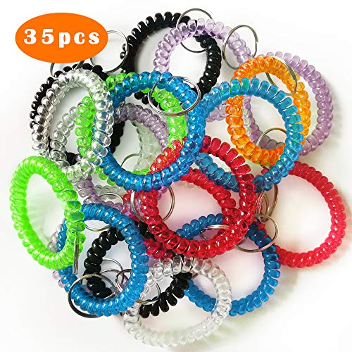 QMET Pack of 35 Stretchable Plastic Bracelet Wrist Coil Wrist band Key Ring Chain Holder Tag (7 COLORS MIXED)]()